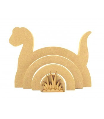 18mm Freestanding MDF Stacking Rainbow Shape - Dinosaur with 3D Grass